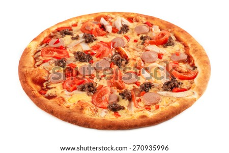 Pizza with pastrami, mushrooms, ground beef and sausage isolated on white - stock photo