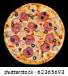 pizza with peperoni, mushrooms and ham, clipping path - stock photo