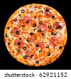 pizza with peperoni, mushrooms, ham and paprika, clipping path - stock photo