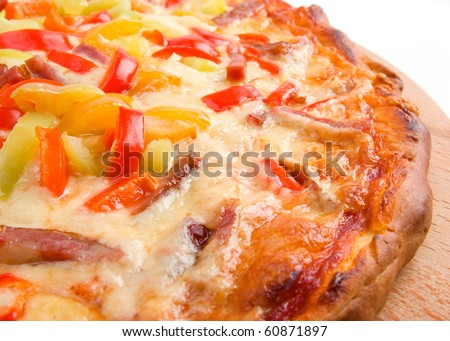 pizza with pepper. close up - stock photo
