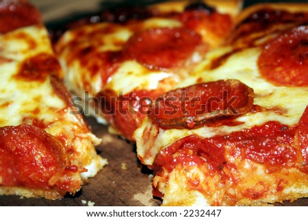 pizza with pepperoni meat - stock photo