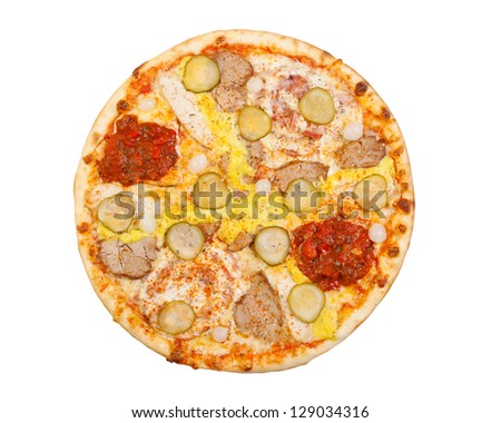 pizza with pickles, pork, cheese, egg yolk, and chili sauce, isolated