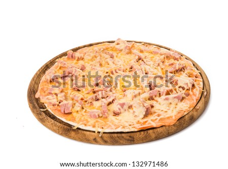pizza with salami isolated on white background