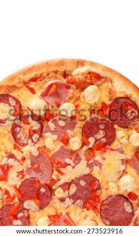 Pizza with salami, pastrami, ham, mushrooms and pepper isolated on white - stock photo