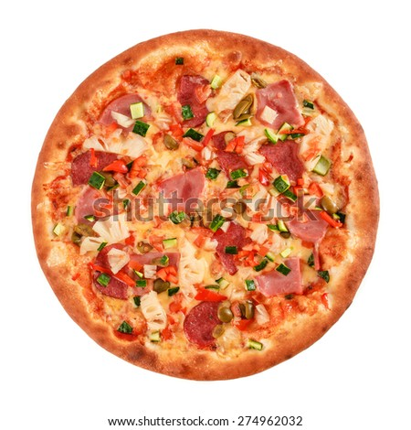 Pizza with salami, sausage, ham, green olives, red pepper, cucumber, pineapple and greens isolated on white - stock photo