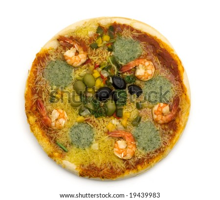 pizza with shrimp on white background
