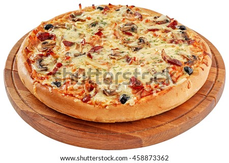Pizza with smoked meat and mushrooms
