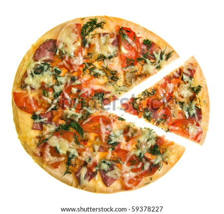 Pizza with the cut off slice isolated on white - stock photo