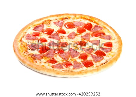 Pizza with tomatoes and ham on white background
