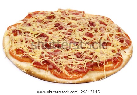 pizza with tomatoes on a white background