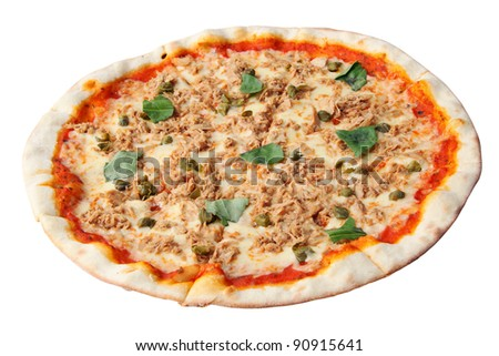 Pizza with tuna and capers isolated over white background.
