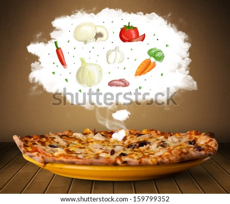Pizza with vegetable ingredients illustration in cloud on wood deck  - stock photo