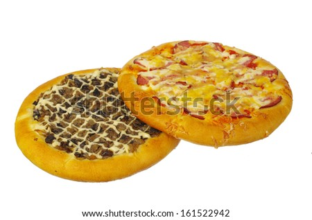 Pizza with vegetables and mushrooms. Isolated on white