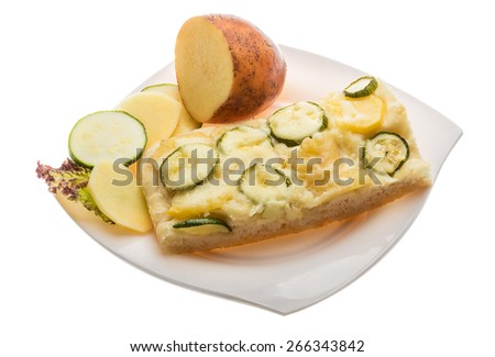 Pizza with zucchini and potatoes