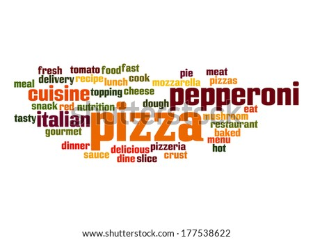 Pizza word cloud - stock photo