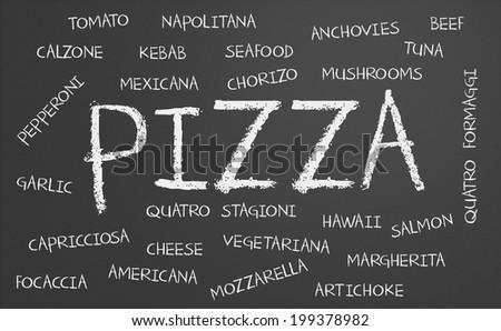 Pizza word cloud written on a chalkboard - stock photo