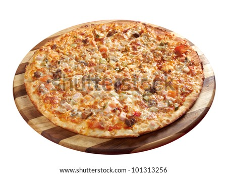 Pizzawith beef and pork, italian kitchen. Studio. isolated on white background. clipping Path