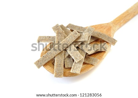 Pizzoccheri, raw pasta typical of Valtellina, Italy