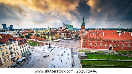 Plac Zamkowy in Warsaw old town, Poland - stock photo