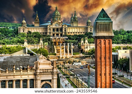 Placa De Espanya, the National Museum in Barcelona. Spain - stock photo