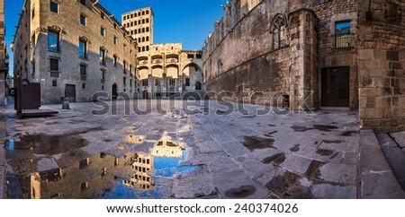 Placa del Rei and Palau Reial Major in Barcelona, Catalynia, Spain - stock photo