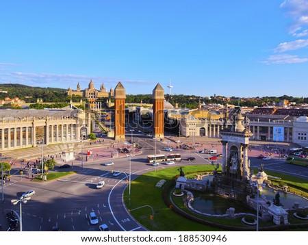 Placa Espanya - Spanish Square in Barcelona, Catalonia, Spain - stock photo