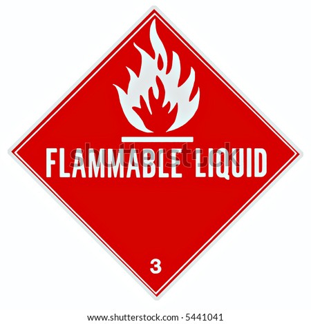 Placard or sign to warn of a flammable liquid - stock photo