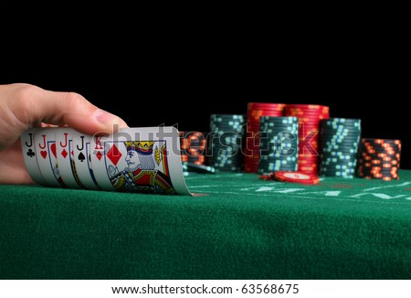 Place a poker player. and cards - stock photo