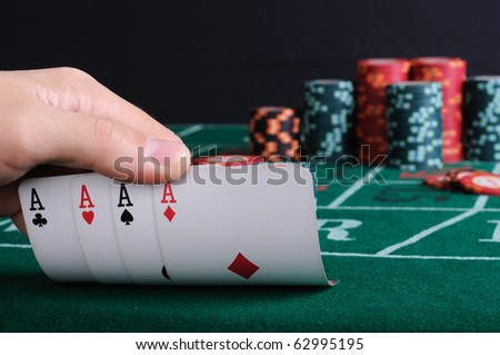 Place a poker player. chips and cards. - stock photo