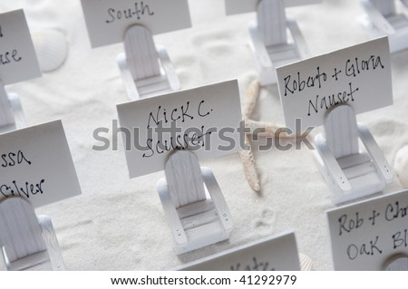 Place Cards at Beach Themed Wedding - stock photo