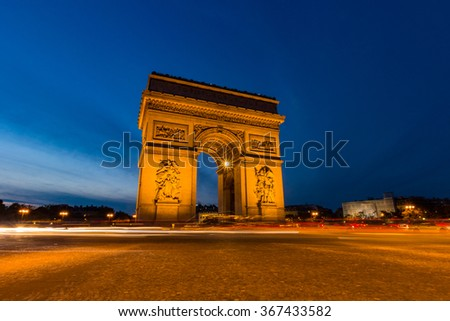 Place Charles de Gaulle with Blue Sky at after Sunset, a large road junction in Paris, France