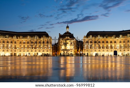 Place de la Bourse in the city of Bordeaux, France with reflection from water fountain
