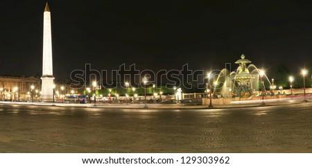 Place de la Concorde at Night (panoramic view), Paris, France - stock photo