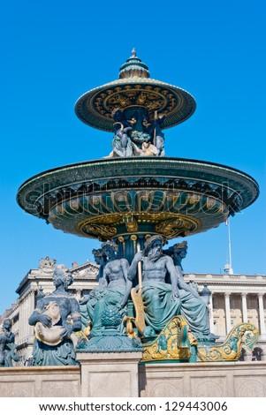 Place de la Concorde Fountain detail, Paris - stock photo