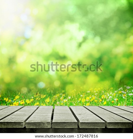 Place for object on wooden table for picnic on spring sunny meadow - stock photo
