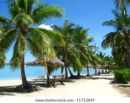 Place for relax on the beach - stock photo