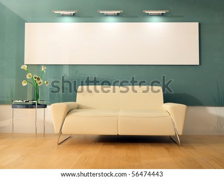 place for rest in office 3d image - stock photo
