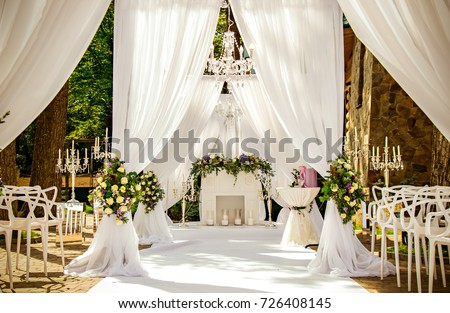 Place wedding ceremony white color with stock photo download now place for wedding ceremony in white color with white fireplace junglespirit Image collections
