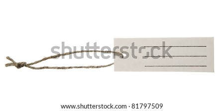 Place for writing made from grey paper label with brown string - stock photo