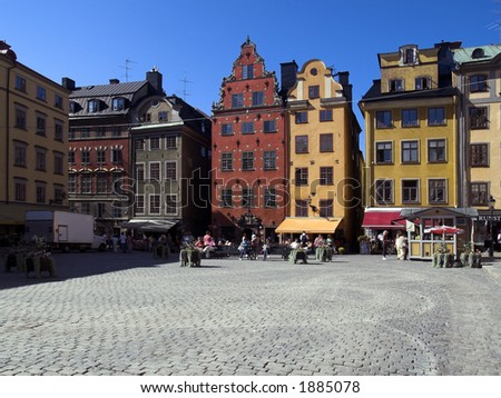 Place in Old city, Stockholm - stock photo