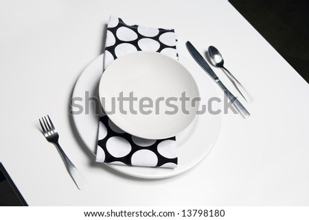 Place Setting - black and white - stock photo