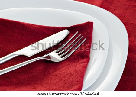 place setting detail with fork and knife