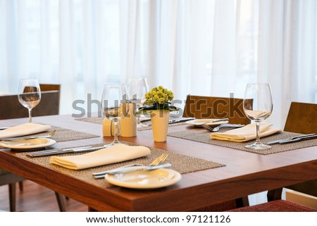 Place setting in an expensive haute cuisine restaurant