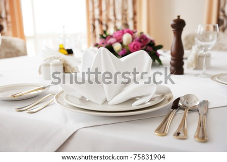 Place setting in an expensive restaurant - stock photo