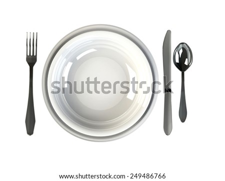Place Setting. Top view of dinner set - plate, knife, spoon and fork on white background or tablecloth - stock photo