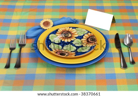 Place setting with card - stock photo