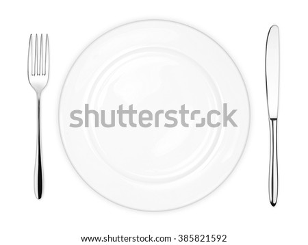 place setting with empty dish fork and knife isolated on white background - stock photo