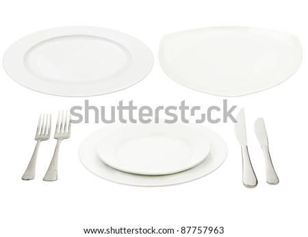 Place setting with high-gloss plate knife \u0026 fork. Isolated on white.  sc 1 st  Shutterstock & Place Setting Highgloss Plate Knife Fork Stock Photo (Royalty Free ...