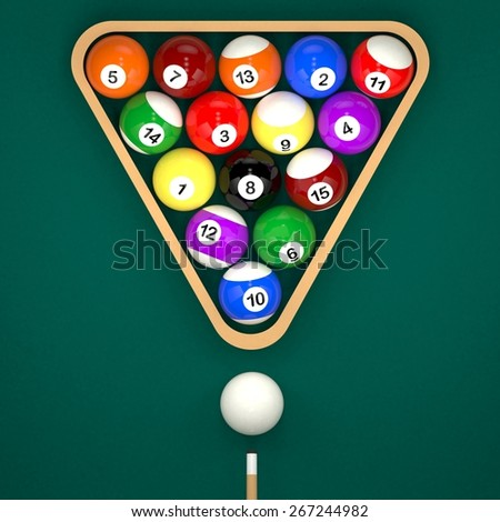 Placed billiard balls on table with cue and triangle on green table background