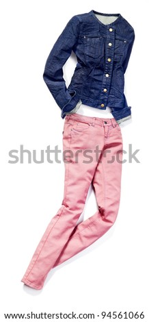 placed denim in action: female pink jeans and blue jacket